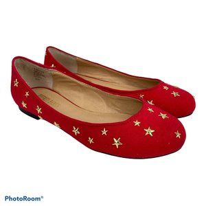 Jeffrey Banks Red Gold Star Ballet Flats 5.5M